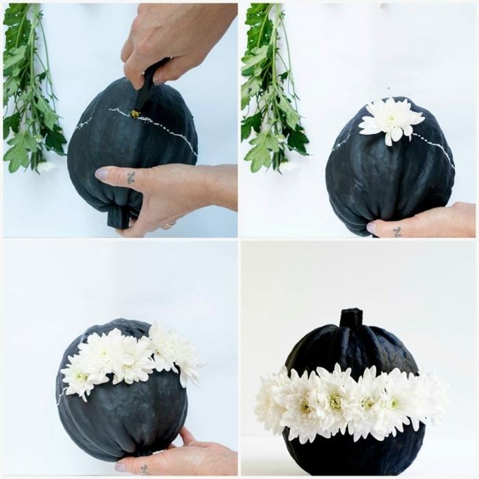 ideas para hacer calabazas decorativas DIY, manualidades de otoño creativas para pequeños y adultos, calabazas negras con flores