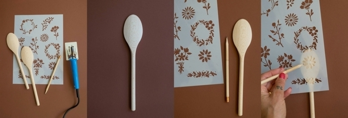 manualidades paso a paso en fotos, ideas de detalles DIY para regalar, cuchara persobalizada con motivos florales paso a paso