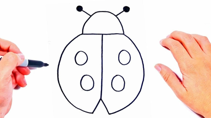 how to draw a little ladybug step by step, simple details to draw, super easy animal drawings