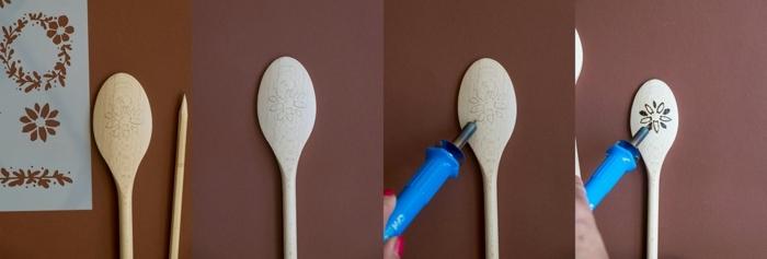 como decorar una cuchara de madera paso a paso, ideas de manualidades para regalar, que regalar a tu suegra ideas en fotos