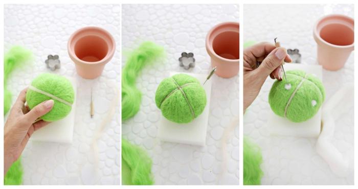 como hacer regalos DIY prácticos y bonitos paso a paso, alfiletero en forma de cactus hecho con hilo, regalos para abuelas