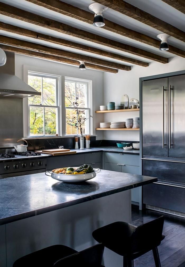 amueblar una cocina en estilo rustico moderno, cocina con techo con vigas, amueblar cocinas en estilo rústico moderno