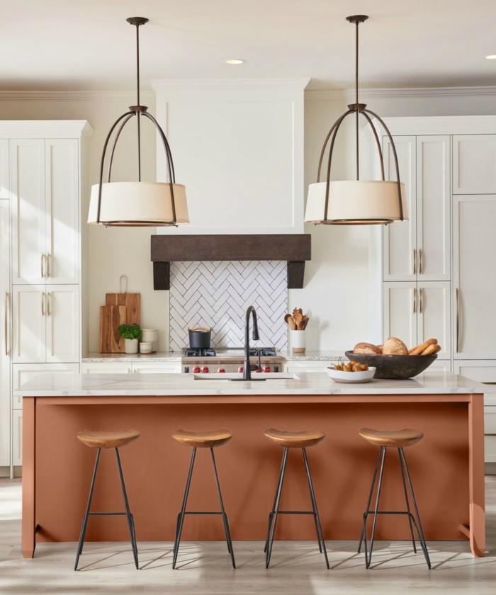 cocinas con barra en colores modernos, grande barra en color caldera, cocina en color blanco con grande barra, fotos de cocinas modernas