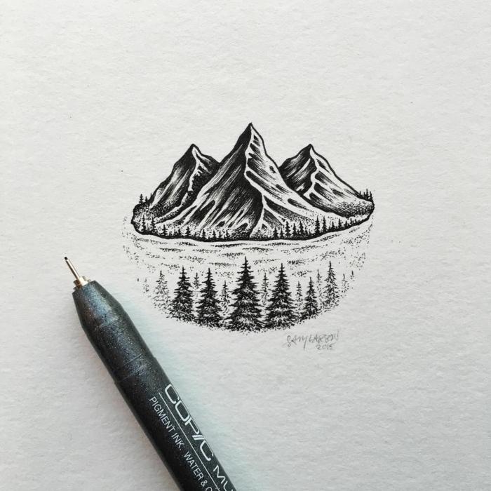 bonitos paisajes de naturaleza para redibujar, ideas de dibujos a lápiz y marcador negro, originales propuestas de dibujos