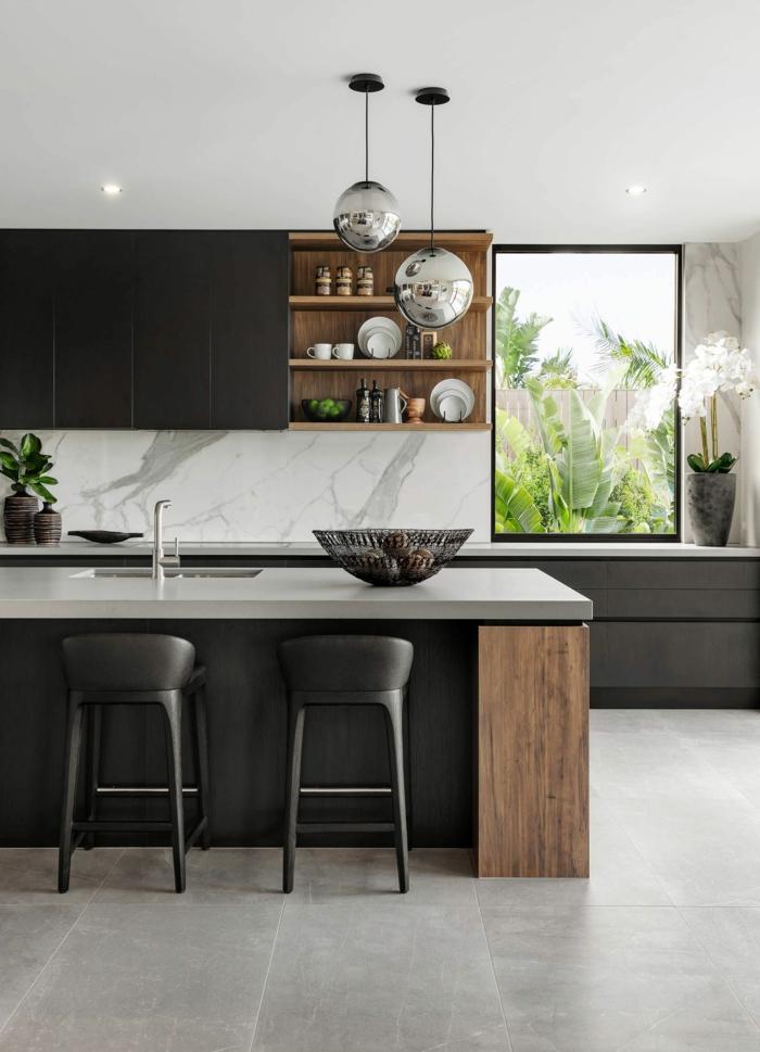 ideas sobre como decorar una cocina moderna, cocina americana en blanco y negro, grande barra multifuncional y baldosas color gris