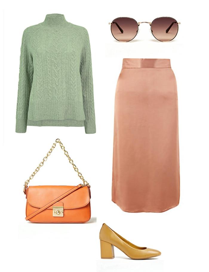 combinaciones de colores, jersey color verde menta y falda midi en color salmón, accesorios en color amarillo y naranja