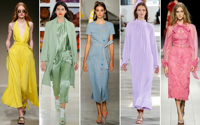 cinco ejemplos de outfit moderno en colores pastel, combinaciones de colores para estar a la última, vestidos y monos super elegantes en un solo color