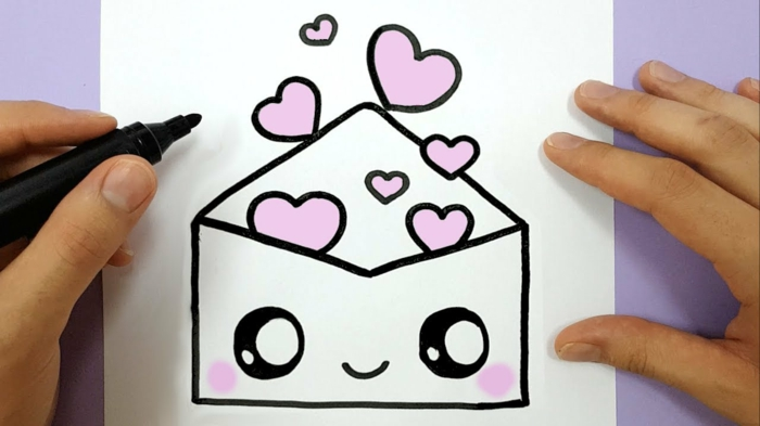 cute and easy drawings with black marker, easy and original pencil drawings, envelope full of hearts