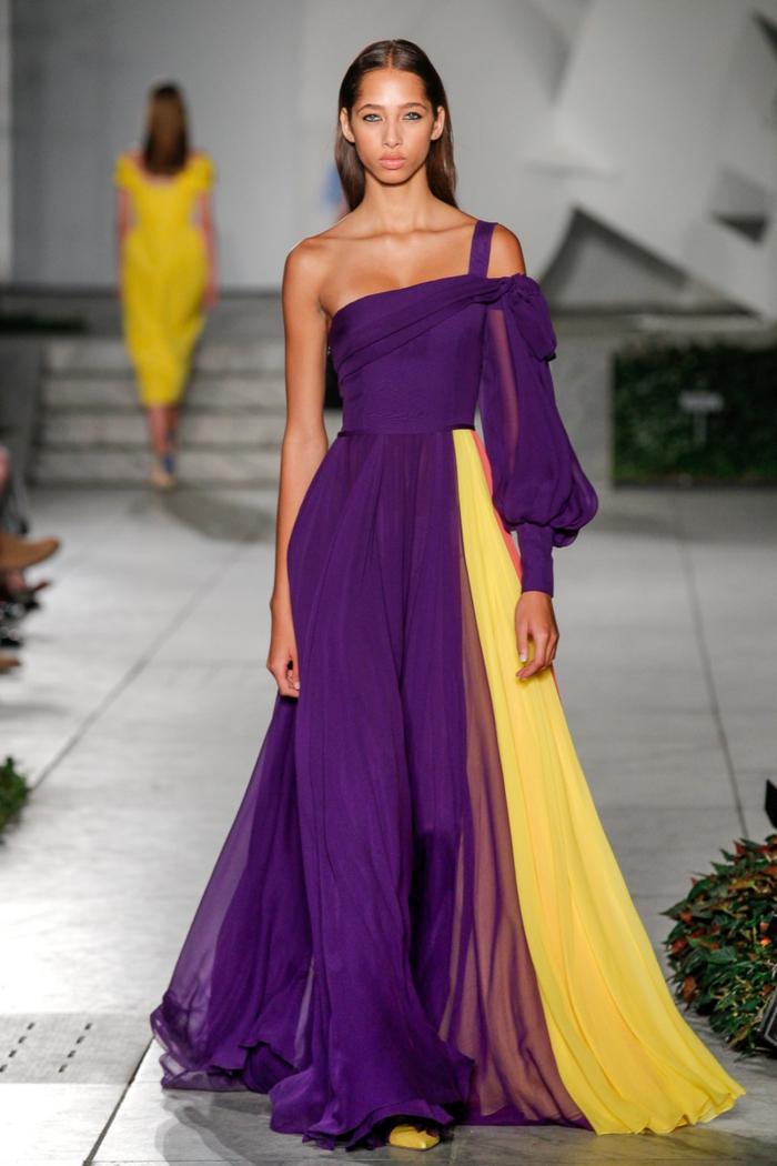 precioso vestido de seda en color morado y amarillo, colores que combinan con morado, fotos de prendas en variedades del amarillo