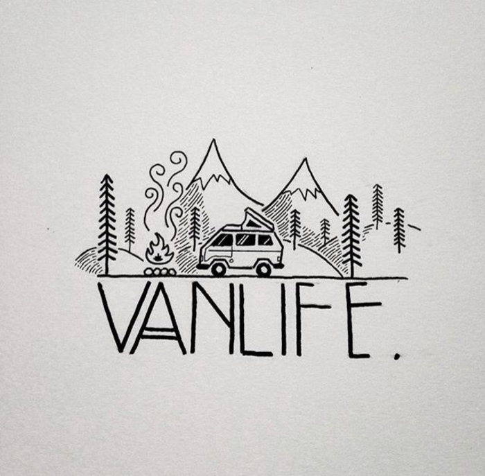 coche en las montañas, ideas de pequeños dibujos y diseños de tatuajes para las personas viajeras