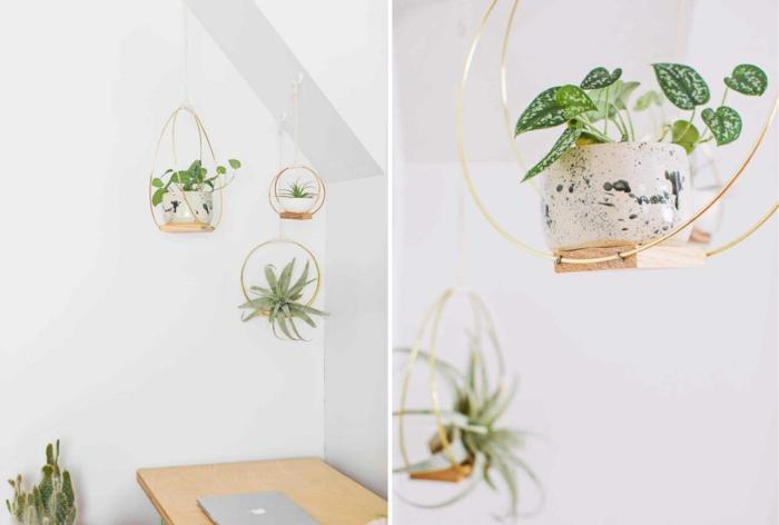 excelentes ideas de que regalar a una abuela, colgantes para plantas verdes originales, salón decorado en estilo bohemio