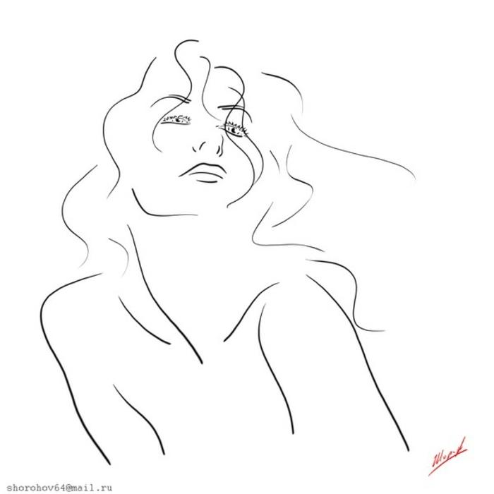 dibujos a lapiz bonitos, ideas sobre como dibujar personas, dibujo mujer con unas líneas sencillas, fotos con ideas para principiantes