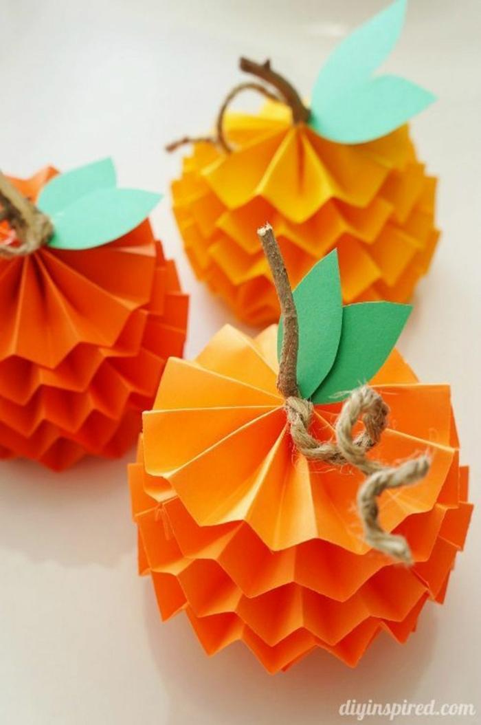 mini adornos hechos de papel para el otoño, calabazas origami originales, tutoriales originales en fotos de manualidades otoño