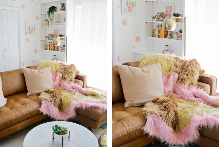 manta peluda para regalar a tu abuela, que regalar a una abuela, ideas en fotos, salón decorado en estilo moderno