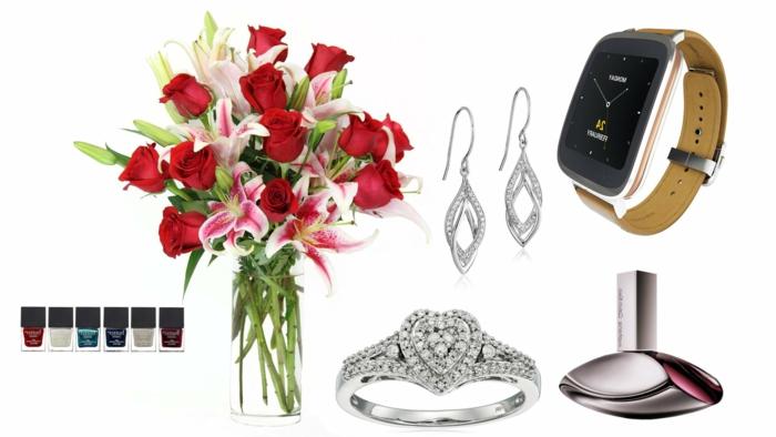 pintauñas en colores metálicos, ramo de flores con rosas rojas, pendientes de plata, reloj moderno, perfume, anillo corazón, ideas sobre que regalar a una suegra