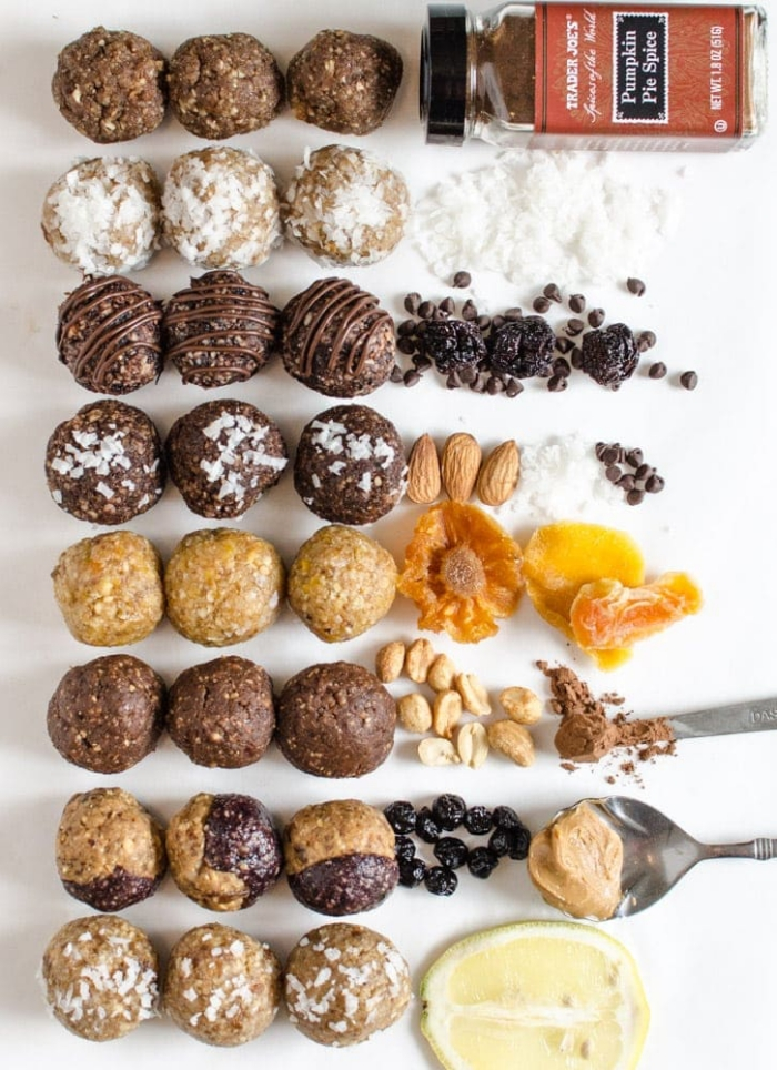 diferentes ideas sobre como hacer bocados energéticos sano, ingredientes saludables, picaduras llenas de proteinas