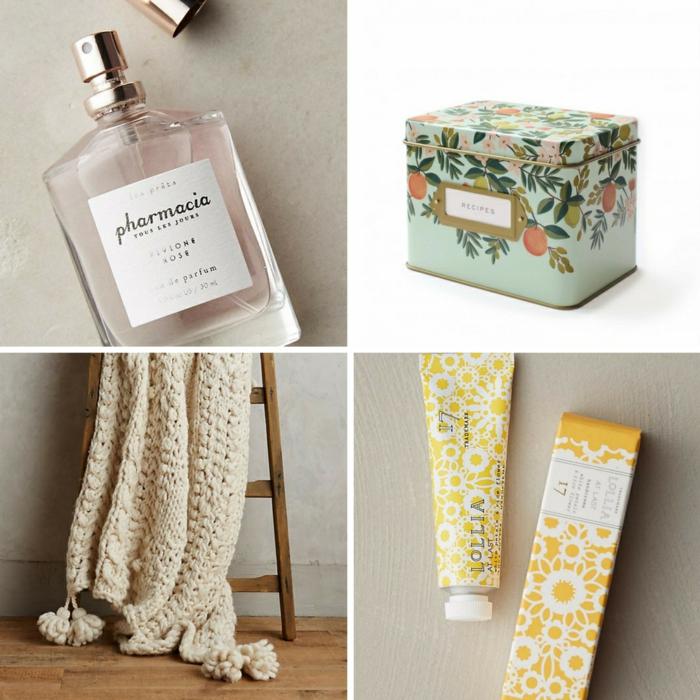 bonitas ideas sobre que regalar a una abuela, perfume, caja para recetas, manta color beige, pomadas, ideas de regalos para abuelas