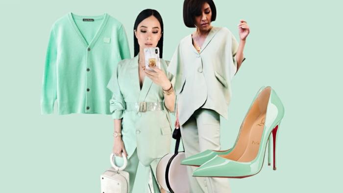 colores que combinan con verde, color verde menta combinado con accesorios en color blanco y rosa pastel, fotos moda mujer 2019