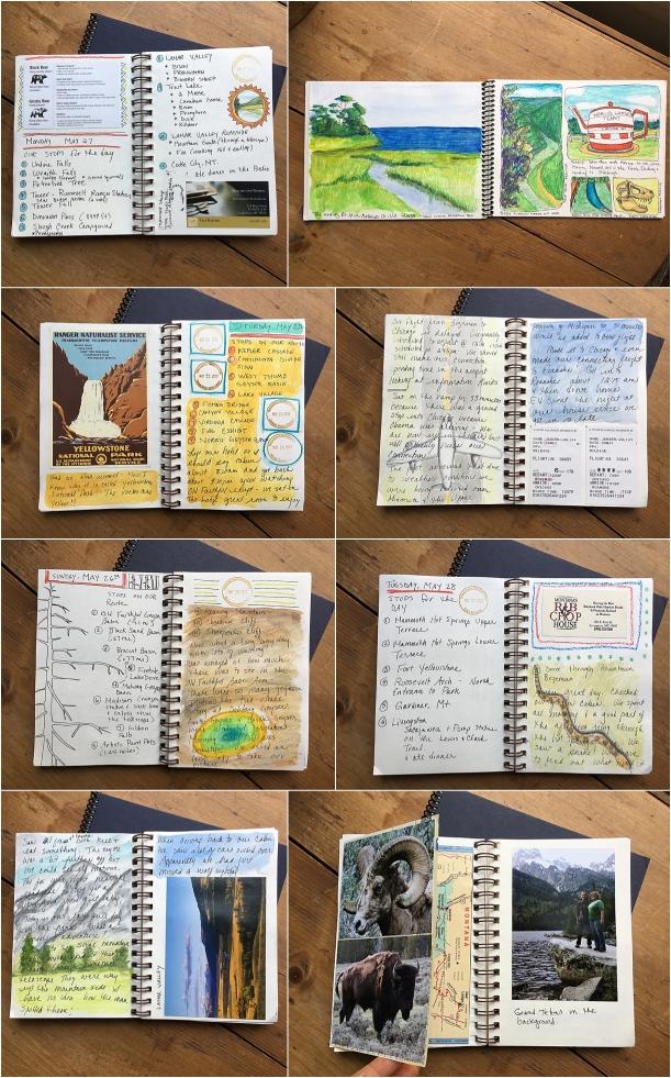 páginas de cuadernos de viaje DIY con dibujos y cuentos sobre las destinaciones que has visitado, regalos caseros unicos