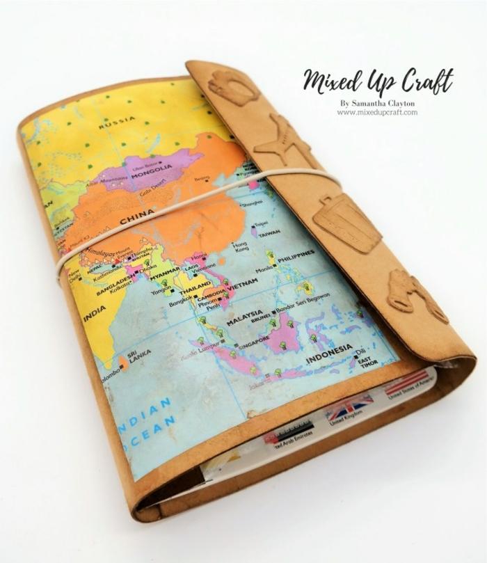 fantásticas ideas de regalos DIY para tus mejores amigos, cuaderno DIY para viajes, ideas de manualidades originales