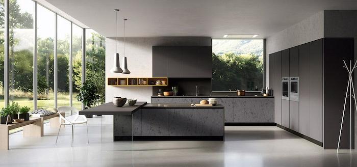 100 fotos de cocinas completas modernas, grande cocina con ventanales, cocina decorada en blanco y gris oscuro