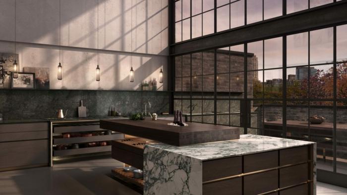 grande cocina con ventanales y vista, ideas de cocinas en estilo industrial, barra americana cocina multifuncional