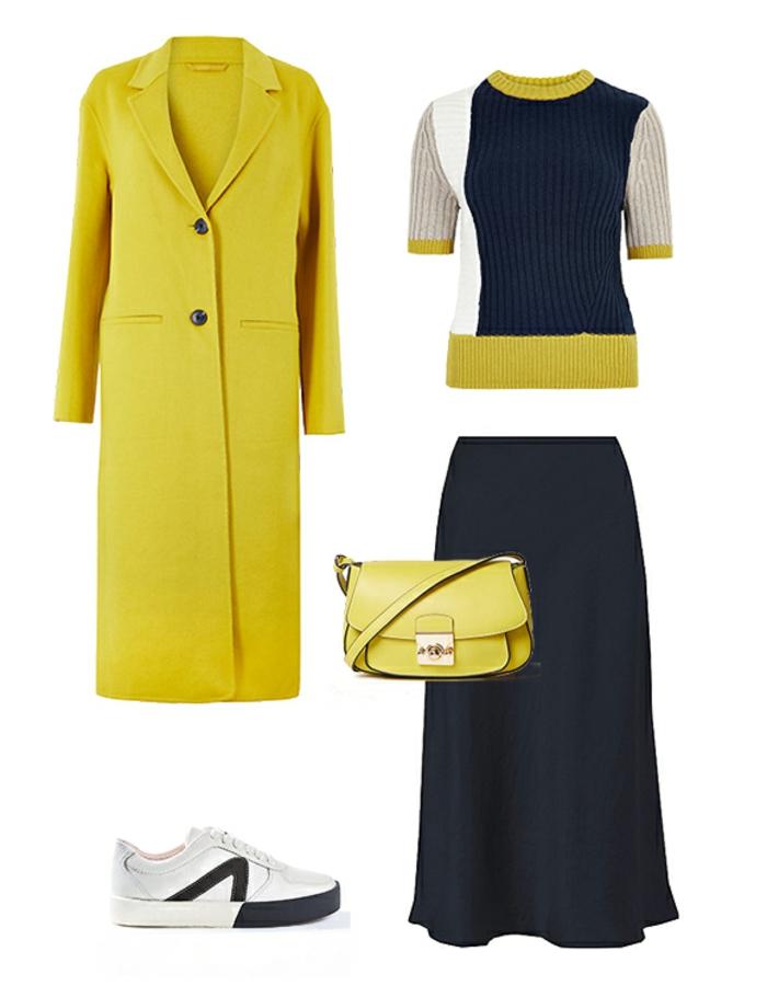 ejemplos de colores que combinan con amarillo, outfit moderno en amarillo y azul oscuro, prendas modernas moda mujer 2019