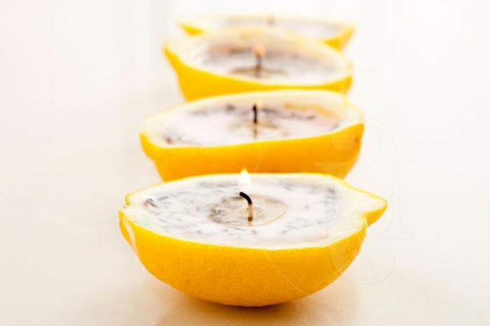 barcos aromáticos caseros originales, cáscaras de limones rellenos, velas naturales originales, aromatizantes caseros