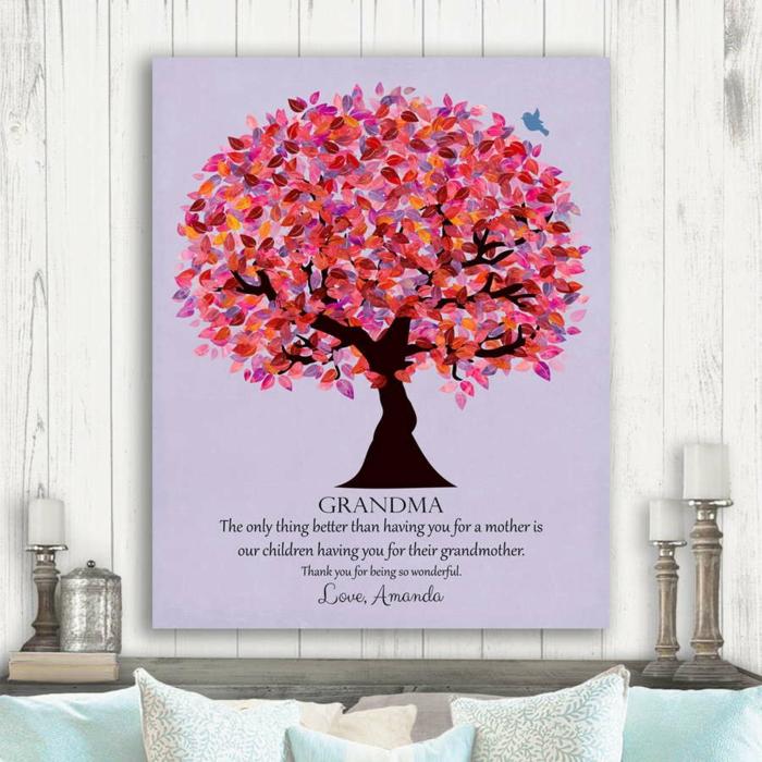 láminas y cuadros decorativos bonitos con grande significado, ideas feliz cumpleaños abuela, árbol familiar en dibujo
