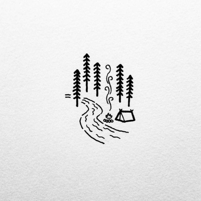 pequeños dibujos faciles y chulos, árboles en el bosque, pequeños detalles para calcar o dibujar, fotos de dibujos