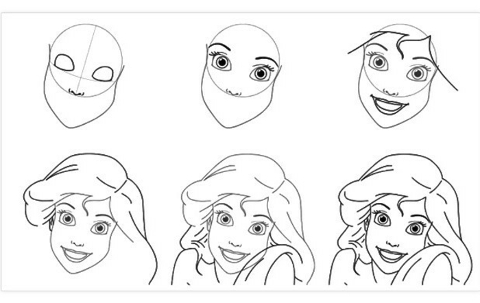 easy step by step drawings for kids, how to draw a person's face, draw the little mermaid Ariel