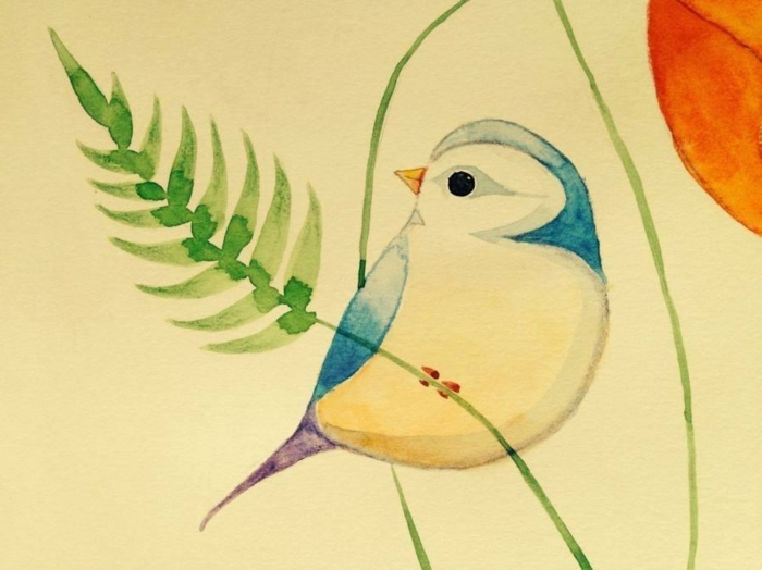 Easy drawing ideas with watercolors, bird drawing in colors, photos of cute drawings that you can redraw