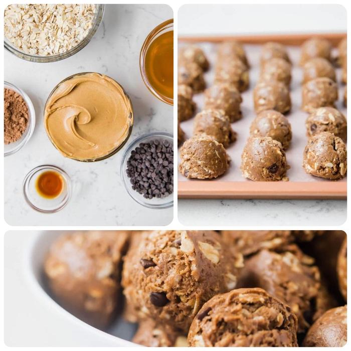 ideas sobre trufas receta, bocados energéticos con manteca de mani, chispas de chocolate, miel, cacao y copos de avena