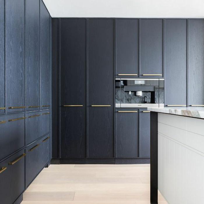 cocina moderna en blanco y azul con armarios empotrados, barras de cocina modernas, fotos de islas de cocina multifuncionales