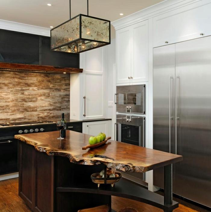 barra de cocina de diseño con encimera de madera asimátrica, ideas de muebles para cocinas en estilo rústico moderno