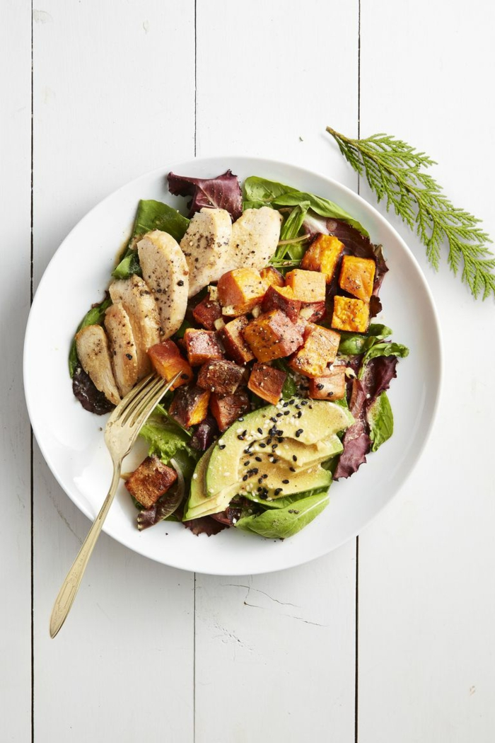 pollo, batatas, lechuga y aguacate, recetas fáciles y rápidas para preparar en casa, recetas faciles para cenas