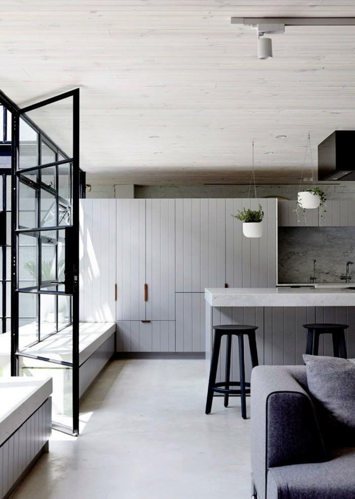 cocinas con peninsula modernas en estilo minimalista, cocina abierta al salón en color blanco, fotos de cocinas modernas
