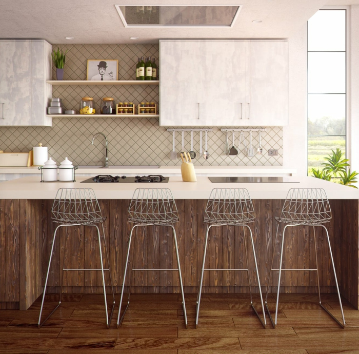 preciosas ideas sobre cómo renovar tu cocina, cocinas con peninsula modernas con sillas altas, ideas para cocinas