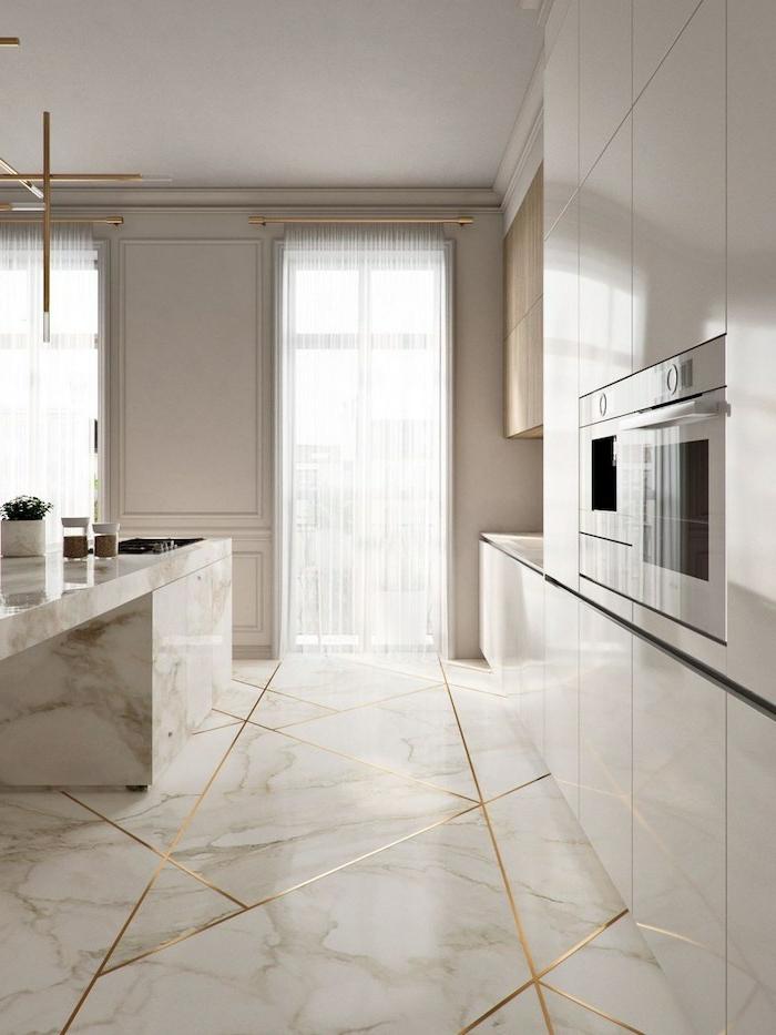 preciosa cocina con suelo y barra de mármol blanco, cocinas decoradas en estilo minimalista, fotos de cocinas con peninsula