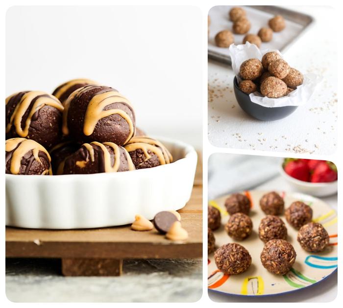 diferentes ideas sobre como hacer postres caseros saludables, recetas de bolas energéticas paso a paso, ideas de dulces sanos