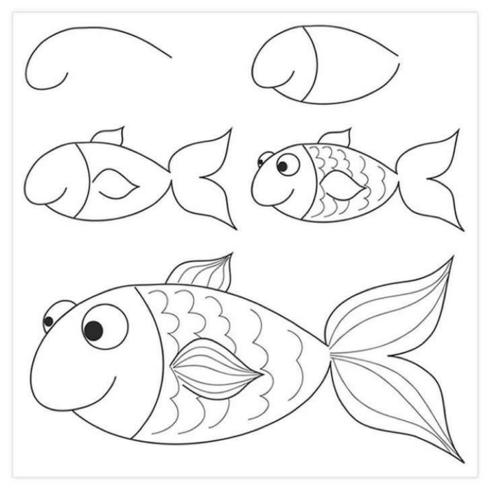 ideas on how to draw a fish are simple step by step figures, drawings to draw in pencil on photos