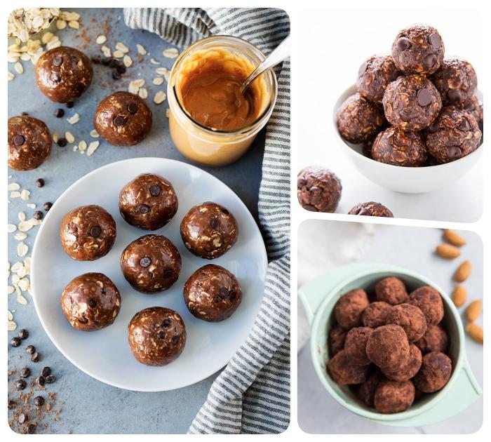 como hacer trufas de chocolate energéticos, bolas con manteca de maní, cacao en polvo y chispas de chocolate