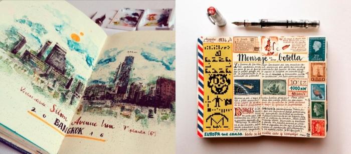 cuadernos originales DIY, cuadernos de viaje hechos a mano con precioso dibujos, detalles caseros para regalar