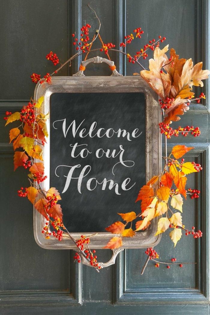 puertas decoradas para el otoño, manualidades otoño originales y sencillas, fotos de decoración DIY para el otoño