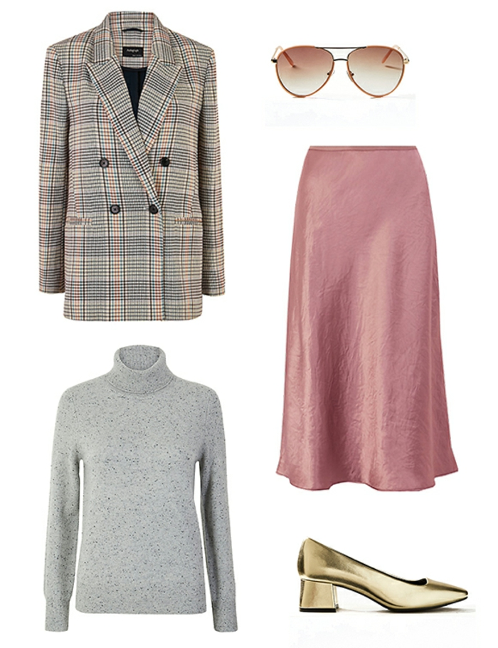 prendas para combinar para conseguir un outfit excelente, colores que combinan con gris ideas, chaqueta maxy, falda midi color rosado
