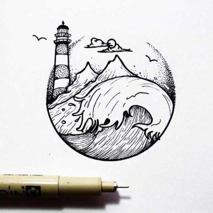 olas del mar, montaña, nubes, aves, ideas sobre dibujos faciles de dibujar que puedes descargar y calcar