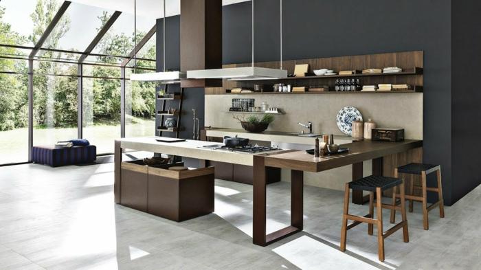 cocina espaciosa decorada en estilo industrial con muebles en gris y marrón, salon cocina americana, fotos de cocinas modernas
