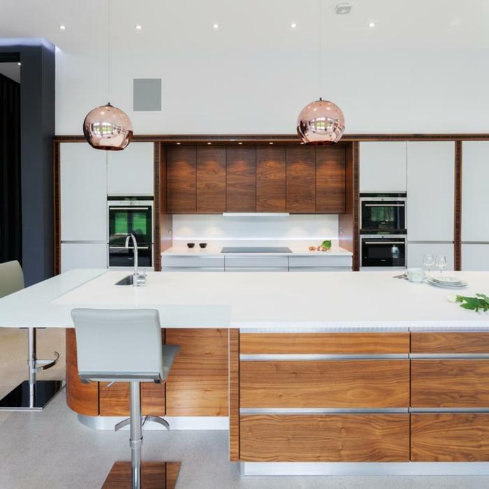 cocina decorada en estilo minimalista, diseños de cocinas bonitas y modernas, fotos de cocinas con muebles multifuncionales