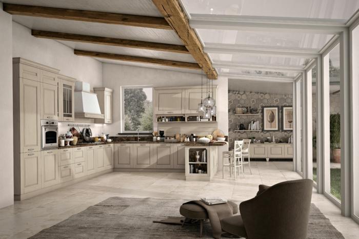 cocinas modernas blancas en estilo rústico moderno, grande cocina con techo con vigas, cocinas modernas en blanco