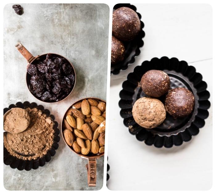 alternativas saludables a los postres con azucar, bocados energéticos sin gluten y azúcar hechos con frutas secas, almendras y cacao en polvo